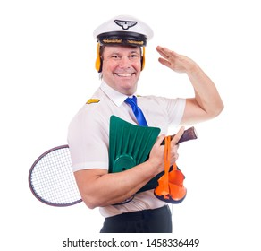 The happy pilot carries sporting equipment for holidays, isolated on white background.