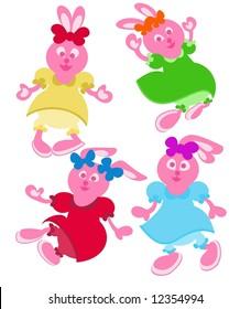 Happy pink rabbit-girls