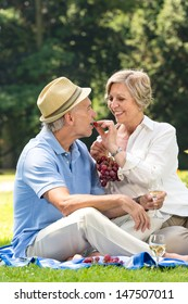 Happy playful pensioners having picnic outdoors