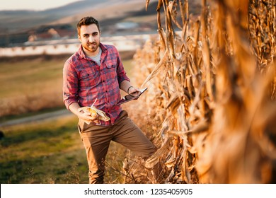 Happy portrait of farmer using tablet while harvesting. Details of agriculture, people close up