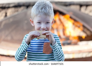 happy positive kid eating smores