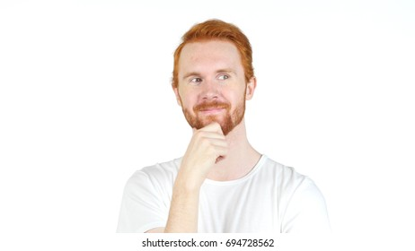 Happy Positive Man with Red Hairs thinking, Pensive