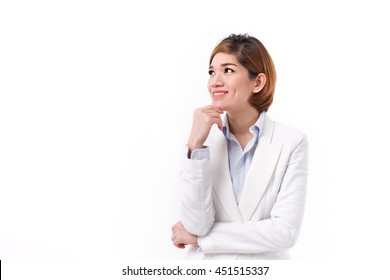 happy, positive, smiling business woman looking up