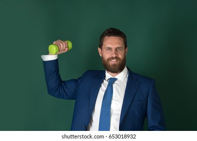 happy powerful man or smiling businessman with heavy barbell, business concept