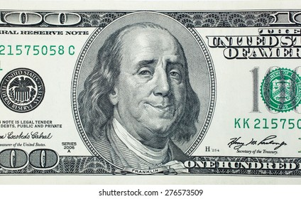 Happy President Benjamin Franklin on 100 US dollar bill