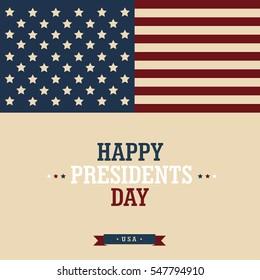 Happy Presidents' Day. Design greeting poster.  Raster copy.