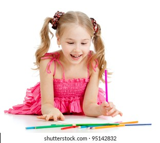 happy pretty girl drawing with pencils