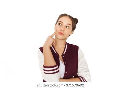 happy pretty teenage girl thinking