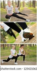Happy pretty women doing exercise. Fitness concept