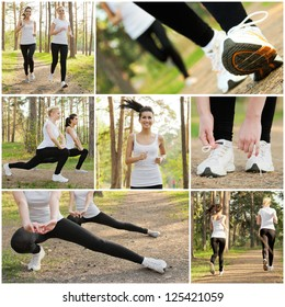 Happy pretty women doing fitness. Healthy lifestyle concept