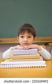 Happy pupil leaning on books at desk at the elementary school