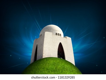 Happy Quaid e Azam Day, Mazar-e-Quaid - The most famous Mausoleum of the founder of Pakistan, Muhammad Ali Jinnah in Karachi 3d grass globe with shrine.