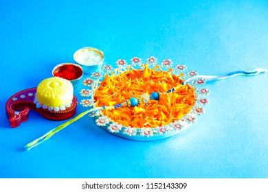Happy Raksha Bandhan / Diya, Pooja Thali, Gift box and sweets etc