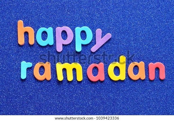 Happy Ramadan on a blue background
