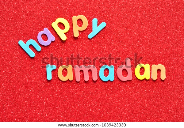 Happy Ramadan on a red background