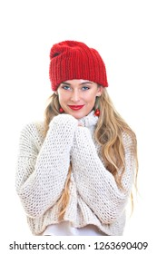happy red christmas winter woman
