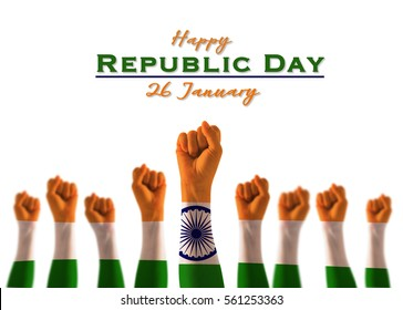 Happy republic day 26 January with India national flag on leader's fist on white background for Human equal rights, labor day concept