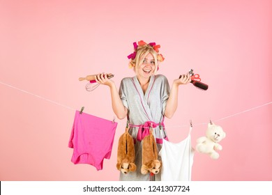 happy retro housewife. Busy mother. Vintage housekeeper woman. Multitasking mom. Performing Different Household Duties. Maid or housewife cares about house. housewife in good mood