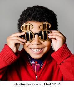 Happy rich american african boy