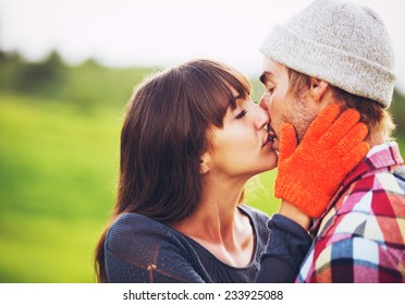 Happy Romantic Young Couple in Love Outdoors