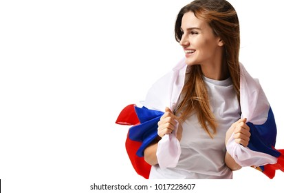 Happy russian soccer fan with national flag shouting celebrating or yelling for the team on game 2018 isolated on a white background