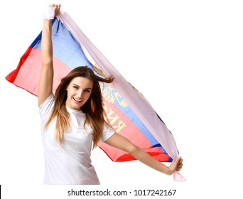 Happy russian soccer fan with national flag shouting celebrating or yelling for the team win on game 2018 isolated on a white background