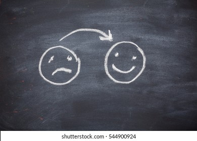 Happy and sad face on Blackboard
