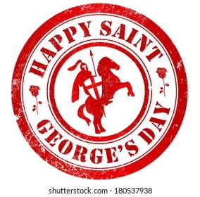 happy saint george's day (23 april) grunge stamp, in english language