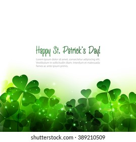 Happy Saint Patricks Day Background with clover. St. Patrick's day. Green clover leaf. Shamrock. Transparent green clover leaves