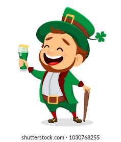 Happy Saint Patrick's Day. Character with green hat. Cartoon funny leprechaun holding a glass of beer. Raster illustration