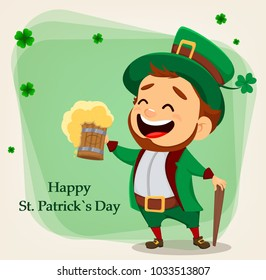 Happy Saint Patrick's Day. Character with green hat. Cartoon funny leprechaun holding a pint of beer. Raster illustration on green background with clovers