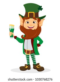 Happy Saint Patrick's Day. Smiling cartoon character leprechaun with green hat and glass of ale. Raster illustration