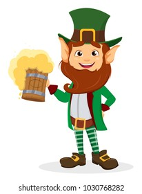 Happy Saint Patrick's Day. Smiling cartoon character leprechaun with green hat holding a pint of beer. Raster illustration