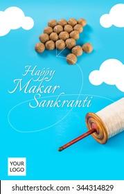 Happy Sankranti, Sankranti greeting card, indian festival with tilgul laddu or laddoo as kite on blue background depicting sky, Makar Sankranti festival in hindu religion in India, indian sweet laddu