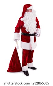 happy Santa Claus with big bag. Isolated on white background
