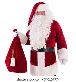 happy Santa Claus with big bag Isolated on white background