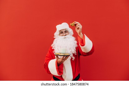 Happy Santa Claus eats chocolate chip cookies and drinks milk on a red background, looks at the camera and smiles. Christmas and New Year concept.