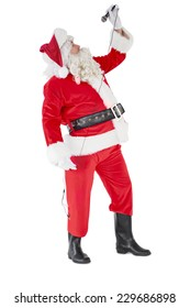 Happy santa claus singing with microphone on white background