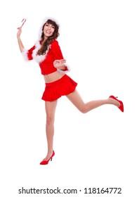 Happy Santa helper with lollypop in hand, studio shot