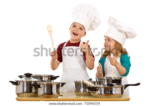 Happy satisfied chef and his aid - kids with cooking utensils, isolated