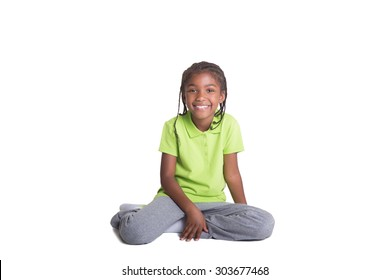 Happy school aged child isolated on white