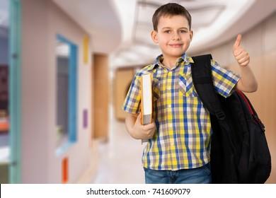 Happy school child.