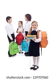 Happy school kids group  - isolated
