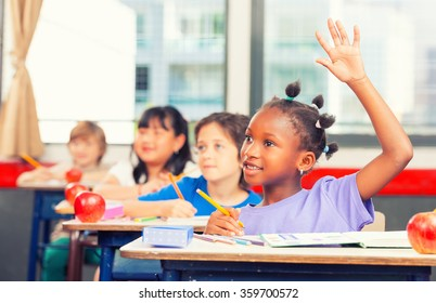 Happy school scene. Elementary class.
