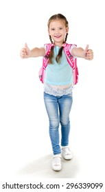 Happy schoolgirl with backpack and fingers up  isolated on a white background
