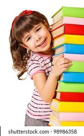 Happy schoolgirl holding pile of books. Isolated