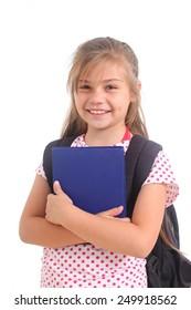 happy schoolgirl on a white background