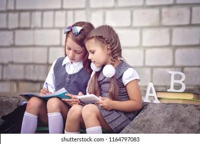 Happy schoolgirls are going to school with books.