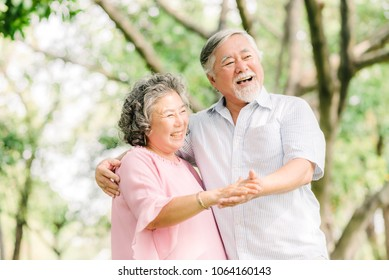 Happy senior Asian couple dancing in the park in sunny day