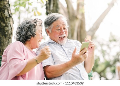 Happy senior Asian couple laughing and exciting with something in smartphone mobile while sitting in the park